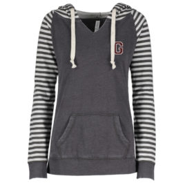 Enza Ladies Garment Washed Striped Chalk Fleece Pullover Hood