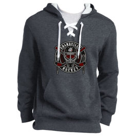 Lace Up Pullover Hooded Sweatshirt – Dark Heather Grey