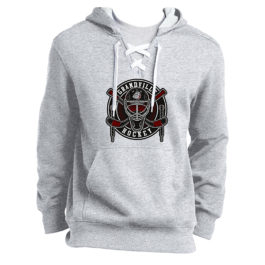 Lace Up Pullover Hooded Sweatshirt – Circle Logo – Grey